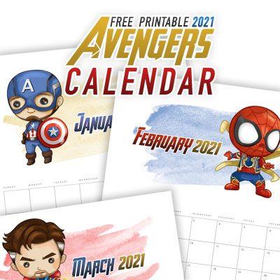 Free Printable 2021 Avengers Calendar