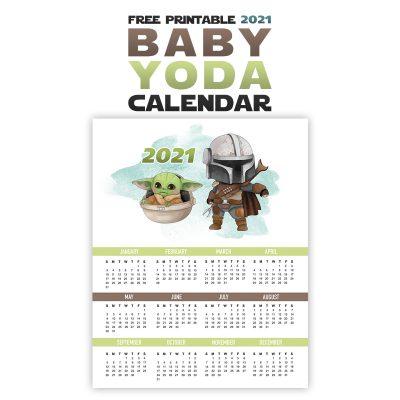 Free Printable 2021 Baby Yoda Calendar