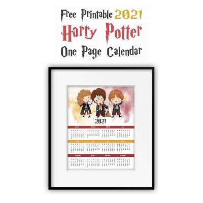 Free Printable 2021 Harry Potter One Page Calendar