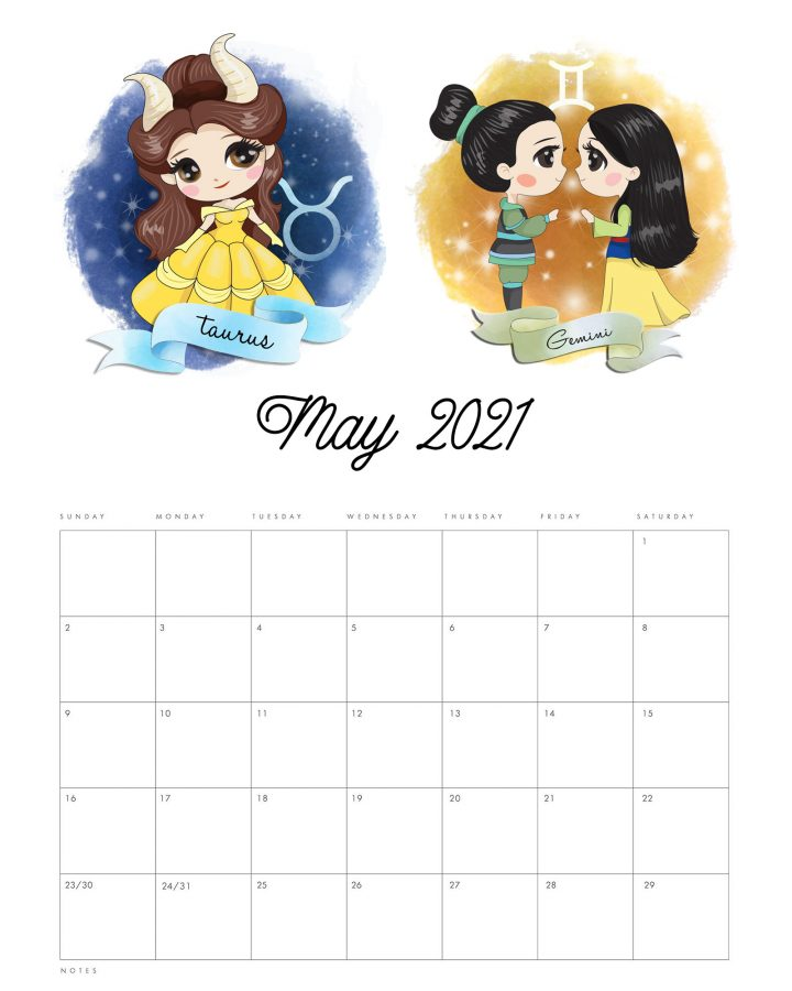 This Free Printable 2021 Princess Zodiac Calendar is waiting for you to print so it can add a touch of fun and beauty to your space and keep you organized all year long!