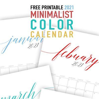 Free Printable 2021 Minimalist Color Calendar