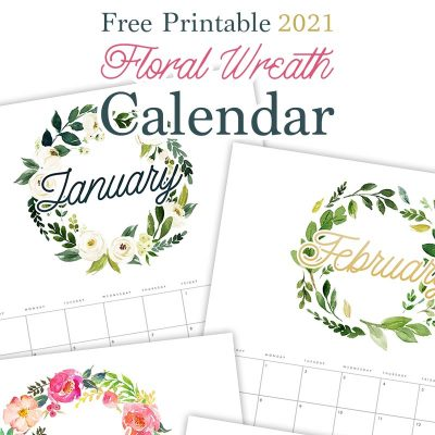 Free Printable 2021 Floral Wreath Calendar