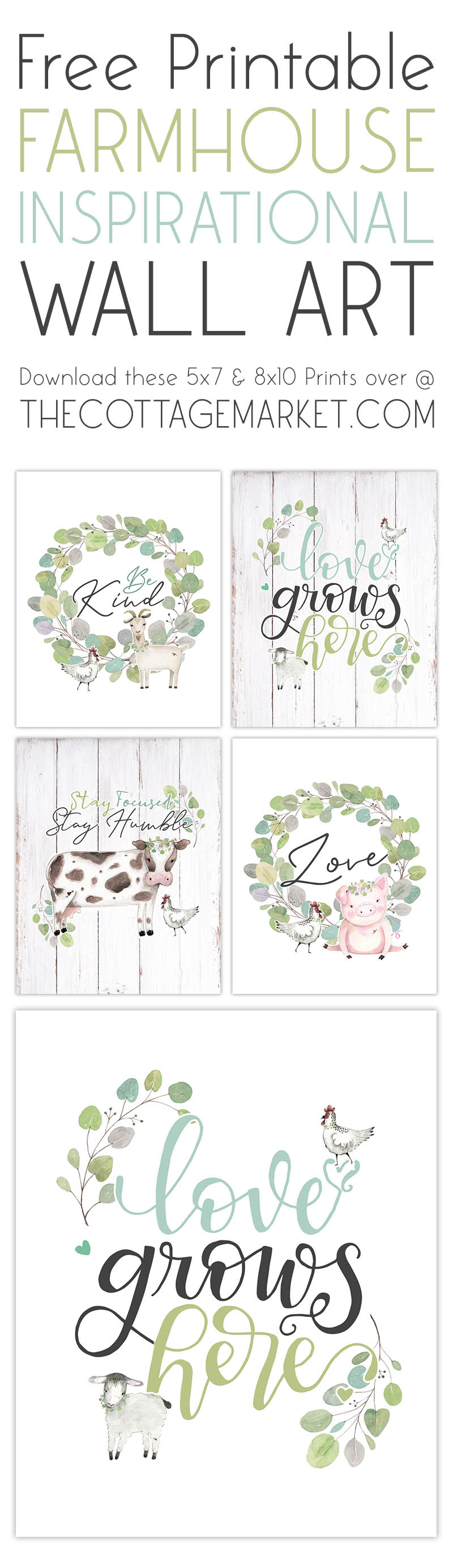 This Free Printable Farmhouse Inspirational Wall Art Set is going to make you and yours walls smile! Sweet Inspirational Art with a fun Farmhouse Flair to bring in the New Year of 2021!