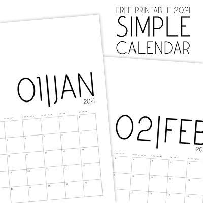 Free Printable 2021 Simple Calendar