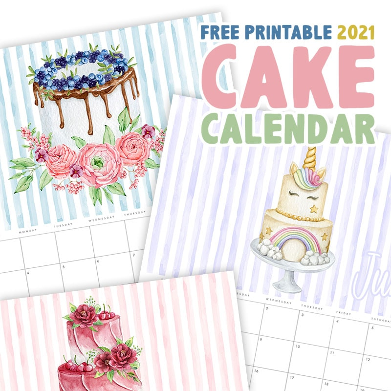 This Free Printable 2021 Cake Calendar is Sweet as can be!  Gorgeous Cakes... fun stripes and the prettiest of colors will fill all the Months of the Year!