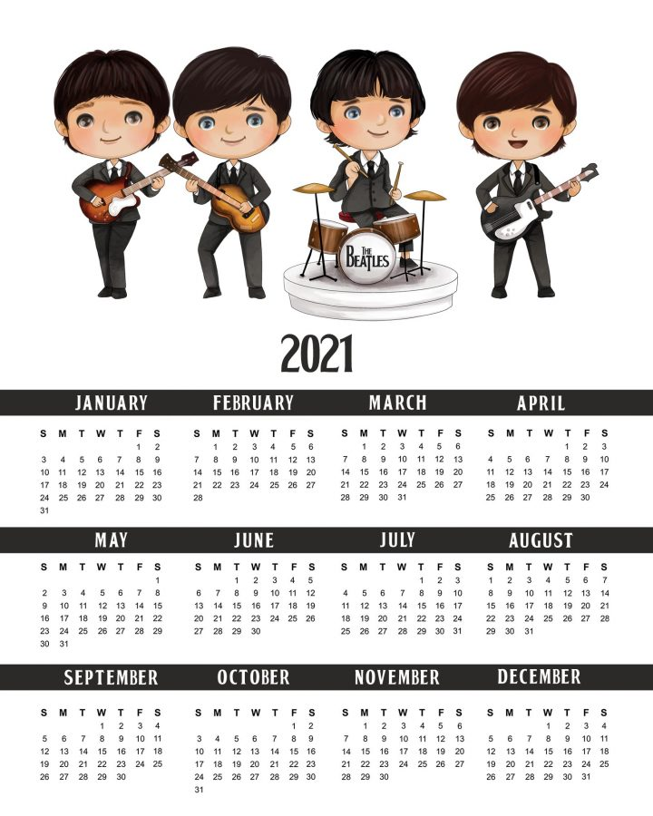 This Free Printable 2021 The Beatles Calendar is just what the New Year Needs!  The Fab Four will help you get organized in 2021 Rockin New Year!!!
