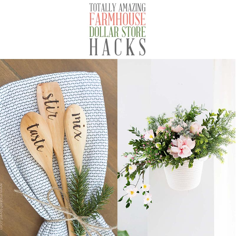 These Totally Amazing Farmhouse Dollar Store Hacks will brighten up your day and give you tons of inspiration to create!  The collection has been all freshened up with new projects hot off the press and some oldies but goodies!  Enjoy!