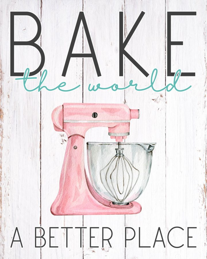 These Free Printable Farmhouse Baking Wall Art Creations will look wonderful in your Kitchen! A weathered wood background and 6 different color mixers to choose from! We've got you covered!