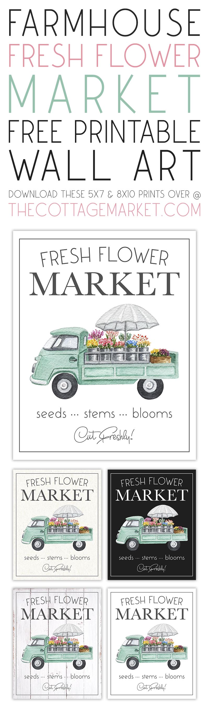 This Farmhouse Fresh Flower Market Free Printable Wall Art is just what your walls... gallery wall... vignette and more need for a blast of Spring Air!!!