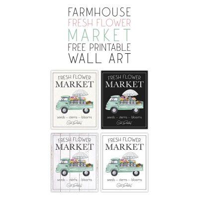 Farmhouse Fresh Flower Market Free Printable Wall Art