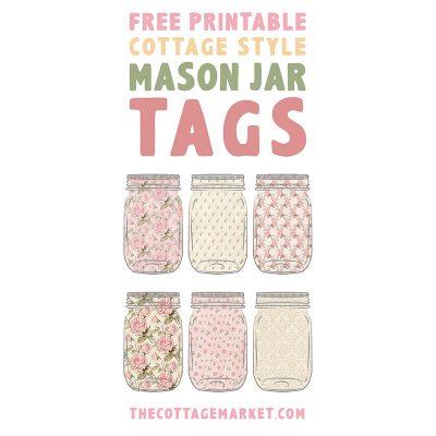 Free Printable Cottage Style Mason Jar Tags