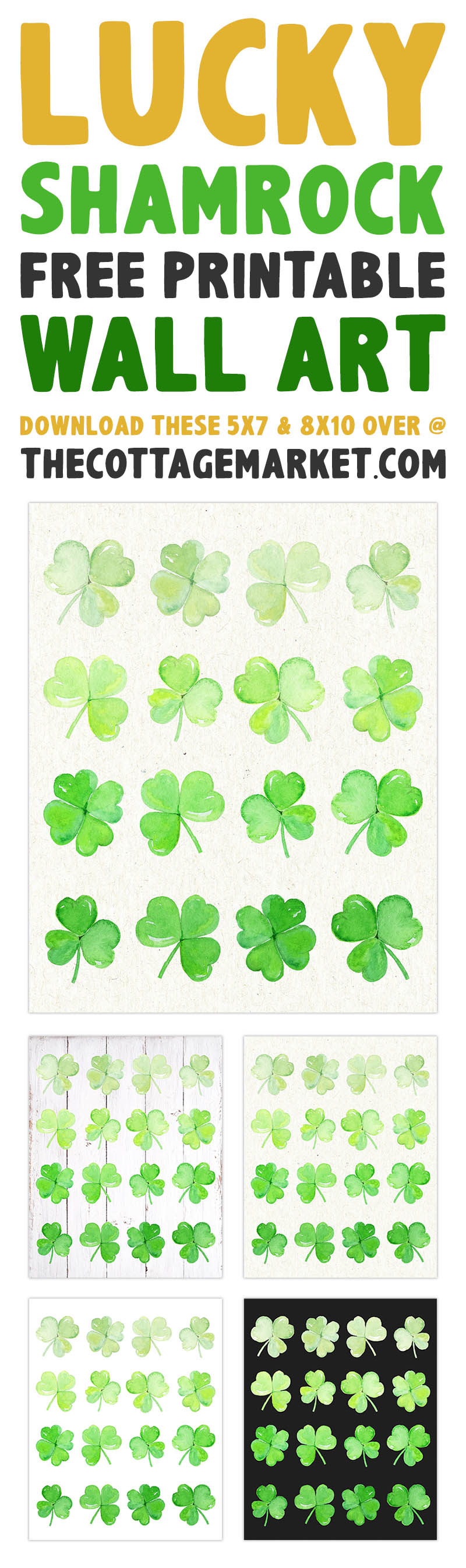 This Lucky Shamrock Free Printable Wall Art is just what you need to add a touch of the Irish LUCK to your home.  No matter if you are Irish or not... St. Patrick's Day... everyone's Irish!