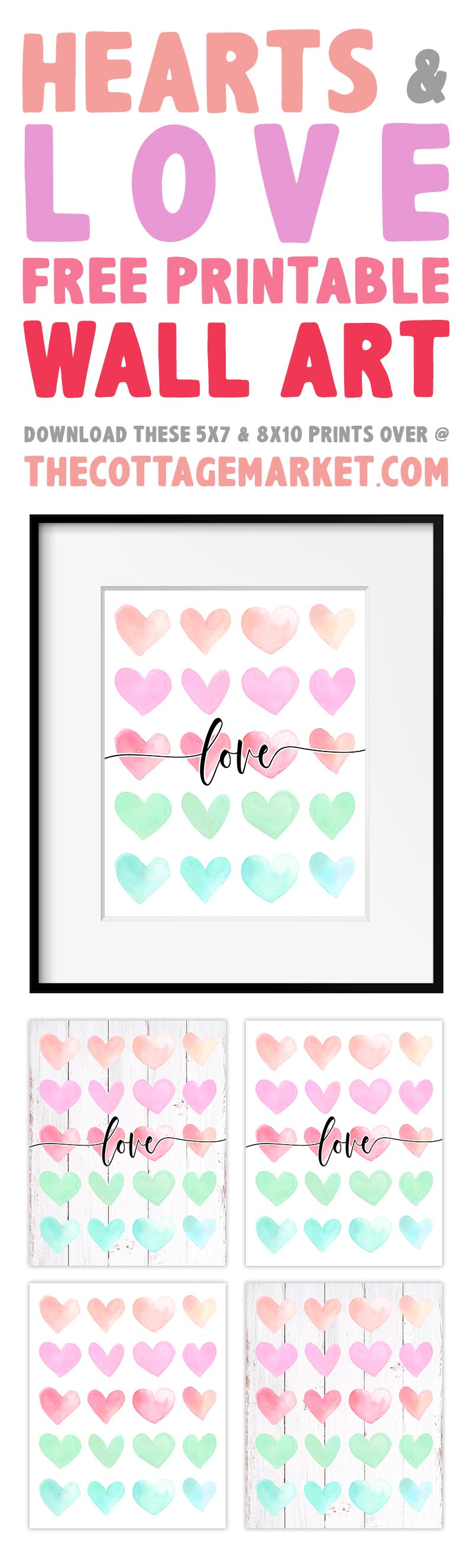 This Collection of Hearts and Love Free Printable Wall Art will add a touch of Love and Fun to your Walls, Vignettes, Galleries and more! 2 different sizes... 2 different backgrounds... 4 different designs!