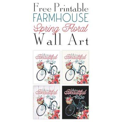 Free Printable Farmhouse Spring Floral Wall Art