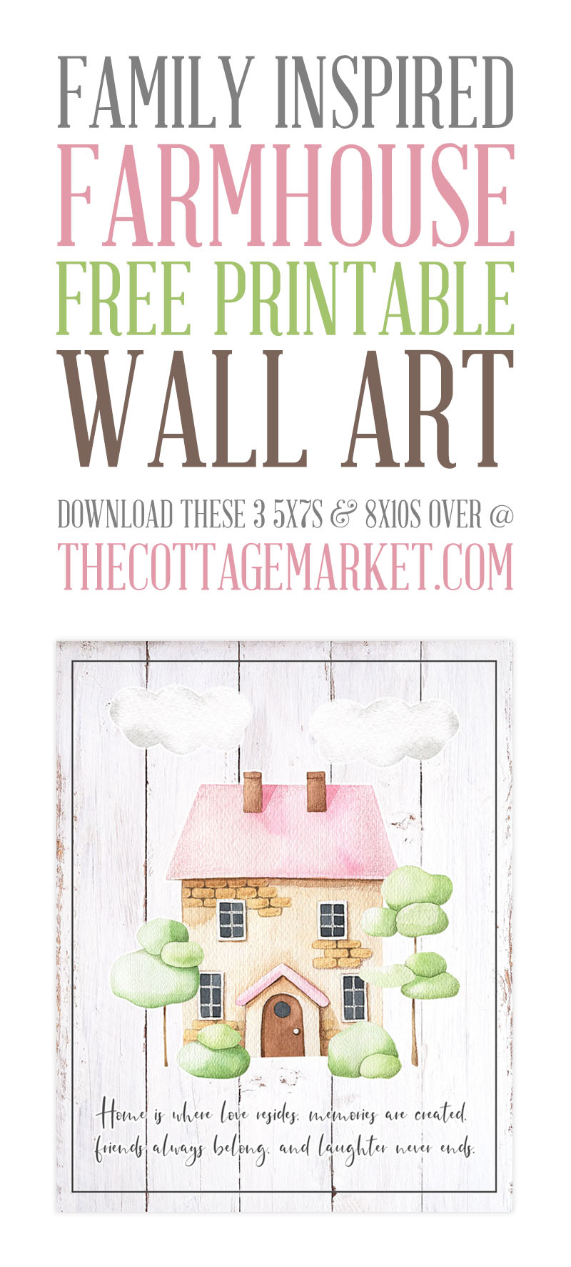 Family Inspired Farmhouse Free Printable Wall Art might just be exactly what your Gallery Wall, Vignette or Bulletin Board needs!