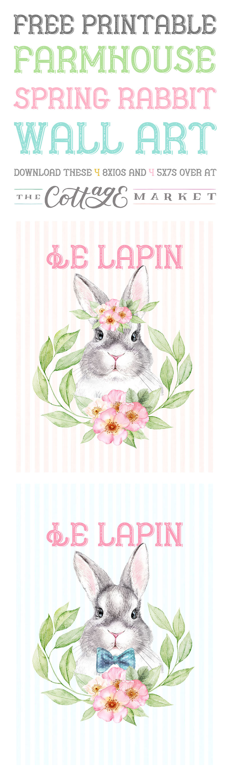 This Set of Free Printable Farmhouse Spring Rabbit Wall Art could be just what your Gallery Wall or Vignette has been looking for! In true French Cottage Farmhouse Style you will find 2 Rabbits you will adore!