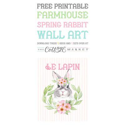 Free Printable Farmhouse Spring Rabbit Wall Art