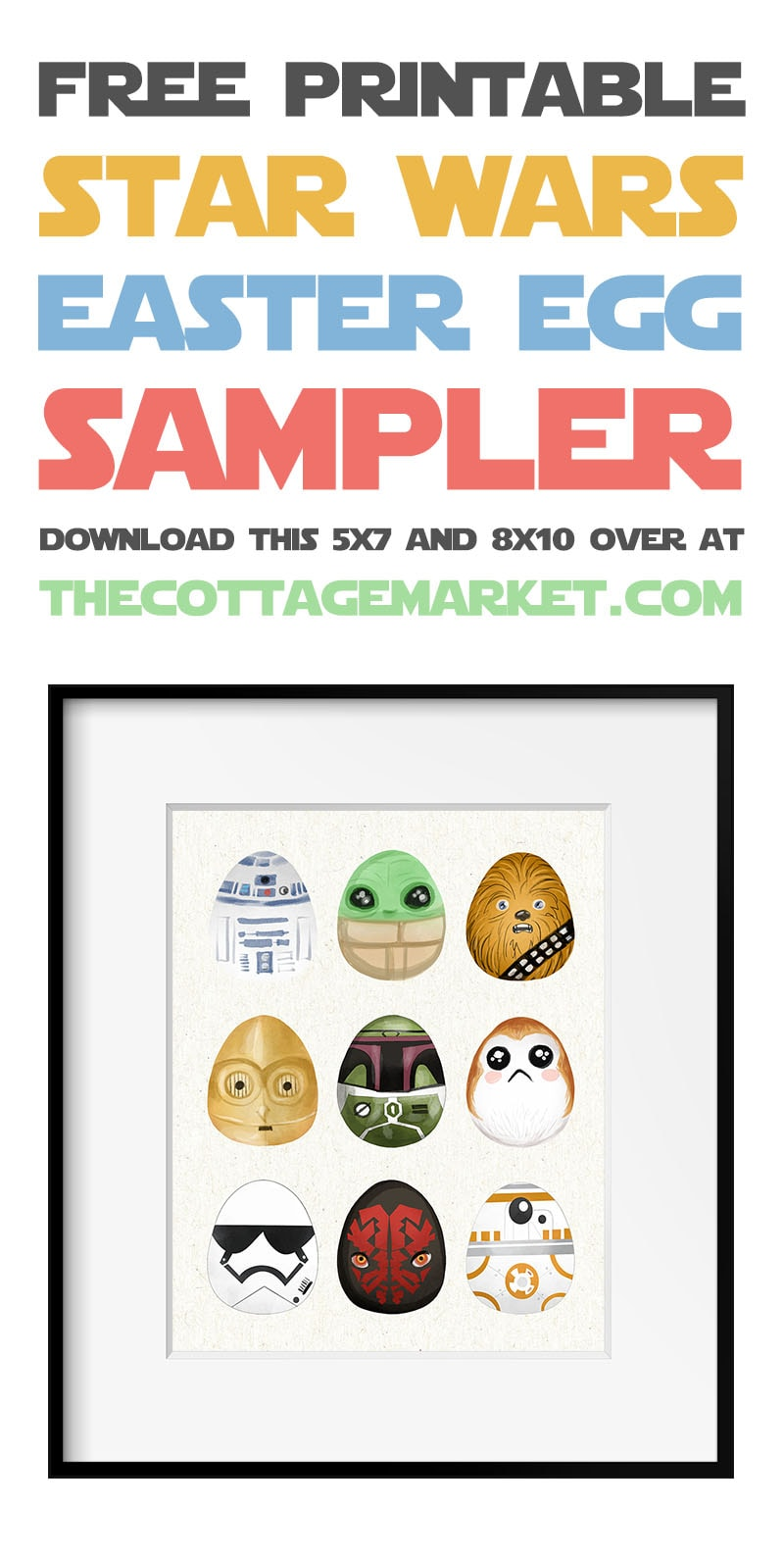 This Free Printable Star Wars Easter Egg Sampler is a must have for any Star Wars Lover out there!  This unique piece is totally out of this world!