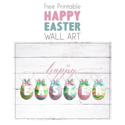Free Printable Farmhouse Happy Easter Wall Art
