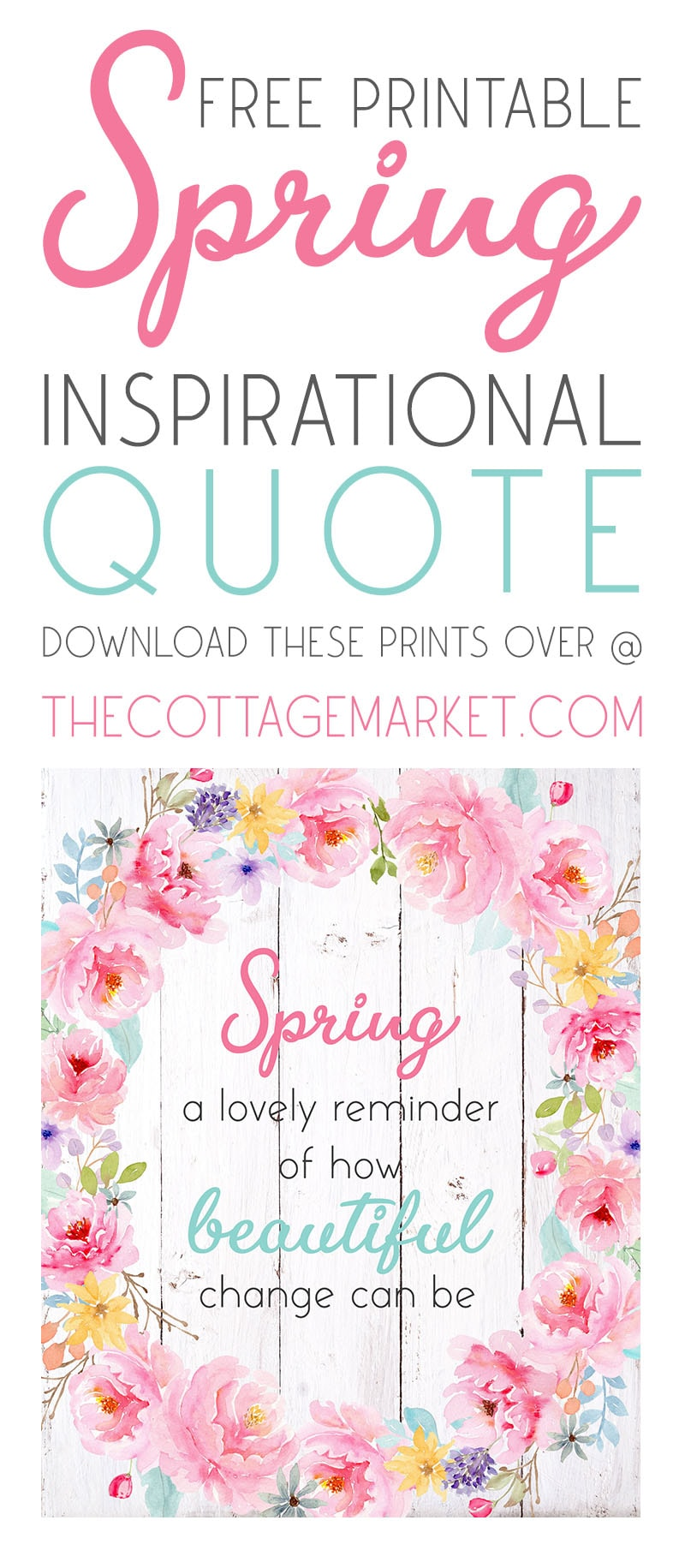 This Free Printable Spring Inspiration Quote is going to look totally fabulous and fresh on you wall or as part of your wall gallery and more.  It's cheery and a great way to celebrate the Season!