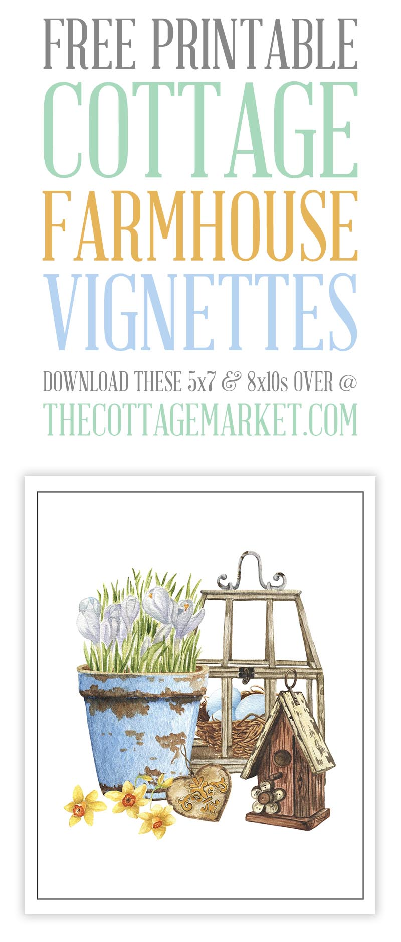 These Free Printable Cottage Farmhouse Vignettes are going to look amazing in your home. A perfect little touch for the walls, gallery wall, vignettes and more.