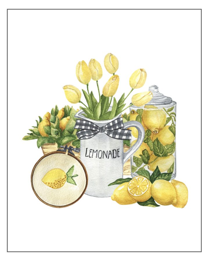 These Free Printable Farmhouse Lemon Vignettes are going to add a touch of Charm and Freshness to your Kitchen for sure.