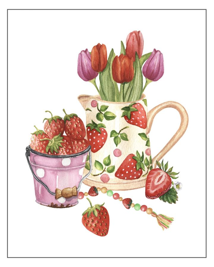 These Free Printable Farmhouse Strawberry Vignettes are going to add a touch of Charm to your Kitchen for sure.