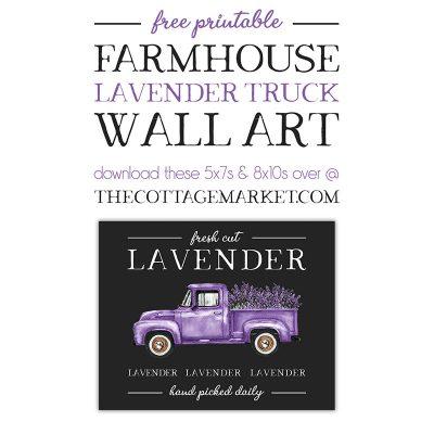 Free Printable Farmhouse Lavender Truck Wall Art