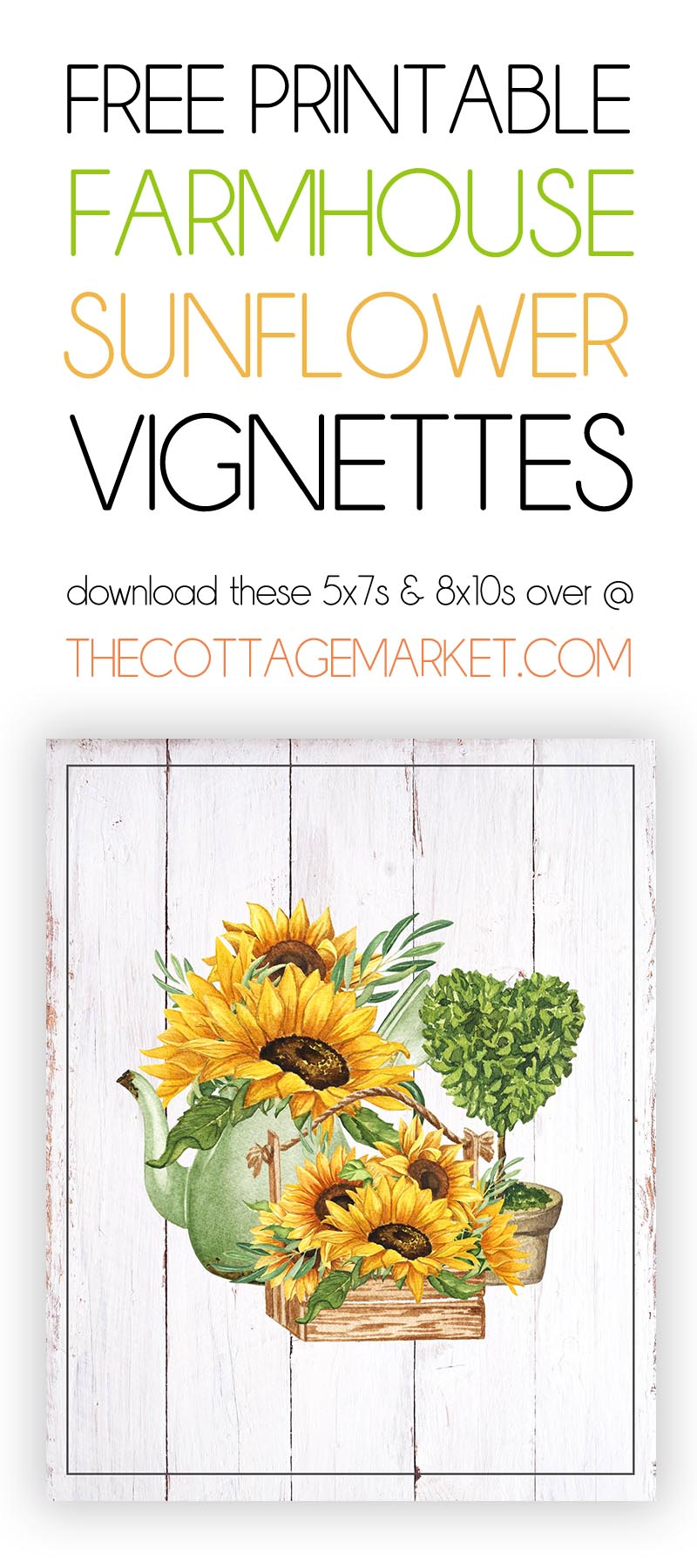 These Free Printable Fresh Farmhouse Sunflower Vignettes are going to add a touch of Charm to your Home for sure.