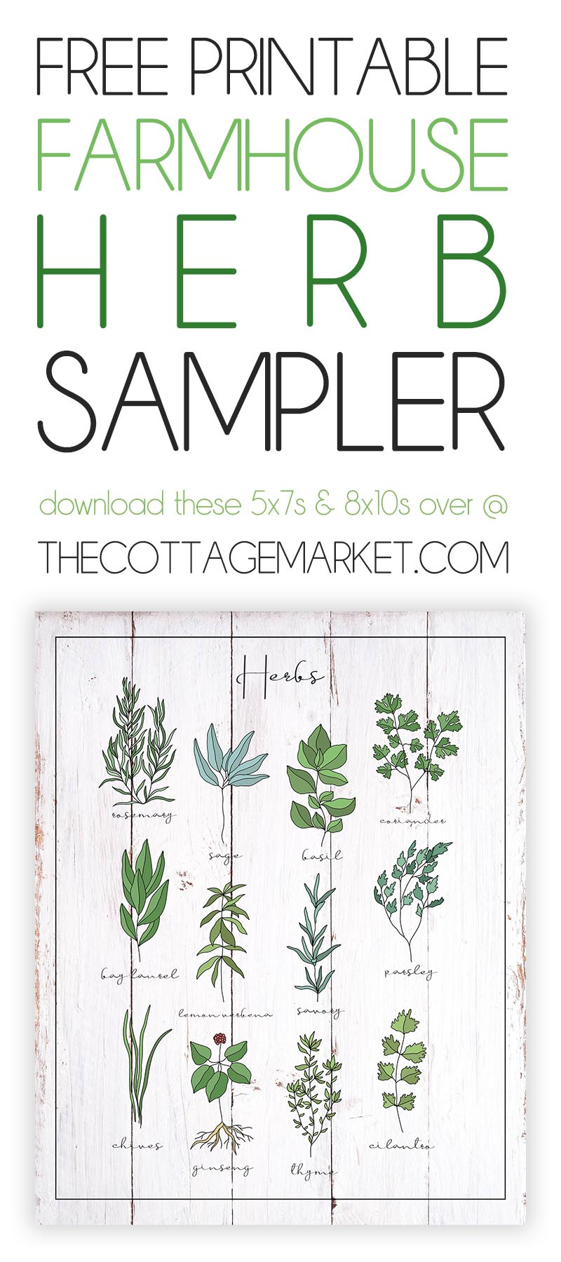 This Fabulous Free Printable Farmhouse Herb Sampler is going to add so much charm to your Kitchen and Dining Room! Comes in a variety of backgrounds and one will be perfect for your special Home Decor!