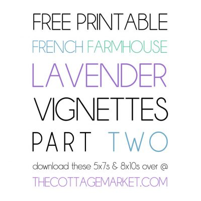 FREE PRINTABLE FRENCH FARMHOUSE LAVENDER BATHROOM VIGNETTES Part Two