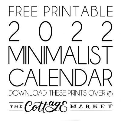 Free Printable 2022 Minimalist Calendar