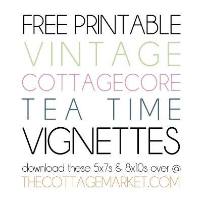 Free Printable Vintage Cottagecore Tea Time Vignettes