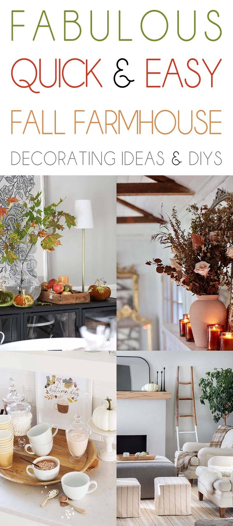 Looking to add a little bit of Fall to your Farmhouse Decor? Well how about trying one or two of these Quick and Easy Fall Farmhouse Decorating Ideas!