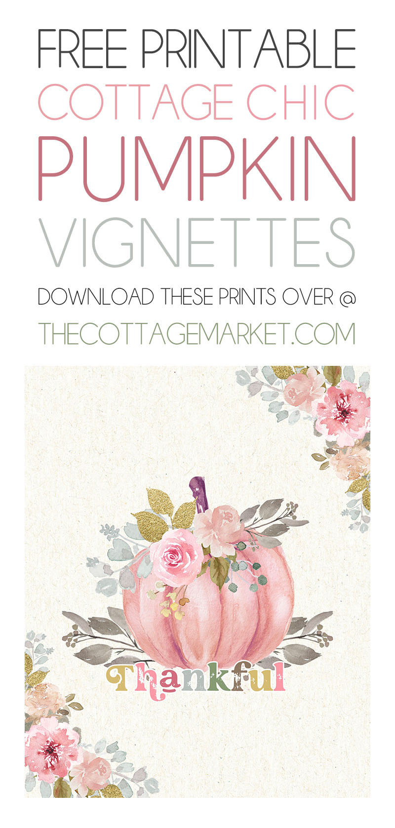 Come and checkout these Adorable Free Printable Cottagecore Pumpkin Vignettes that put a little Pink into your Fall!