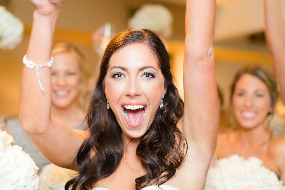excited bride after ceremony