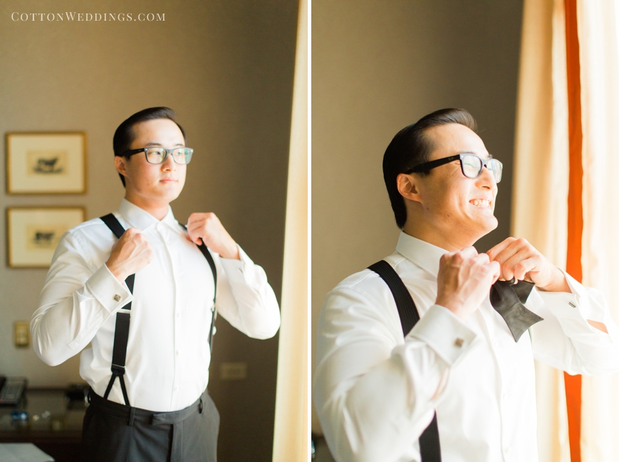 groom with suspenders and bowtie