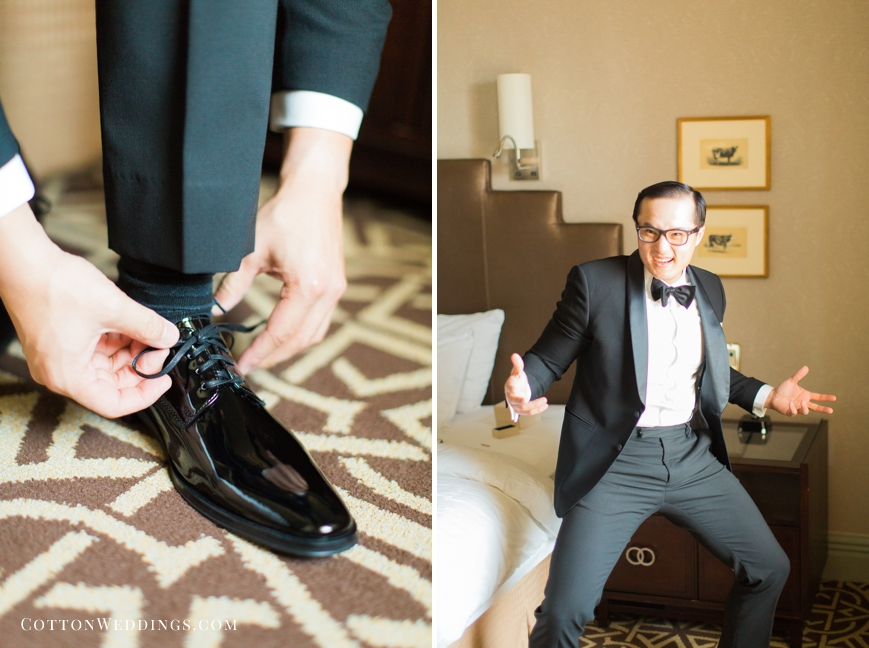 silly groom getting dressed