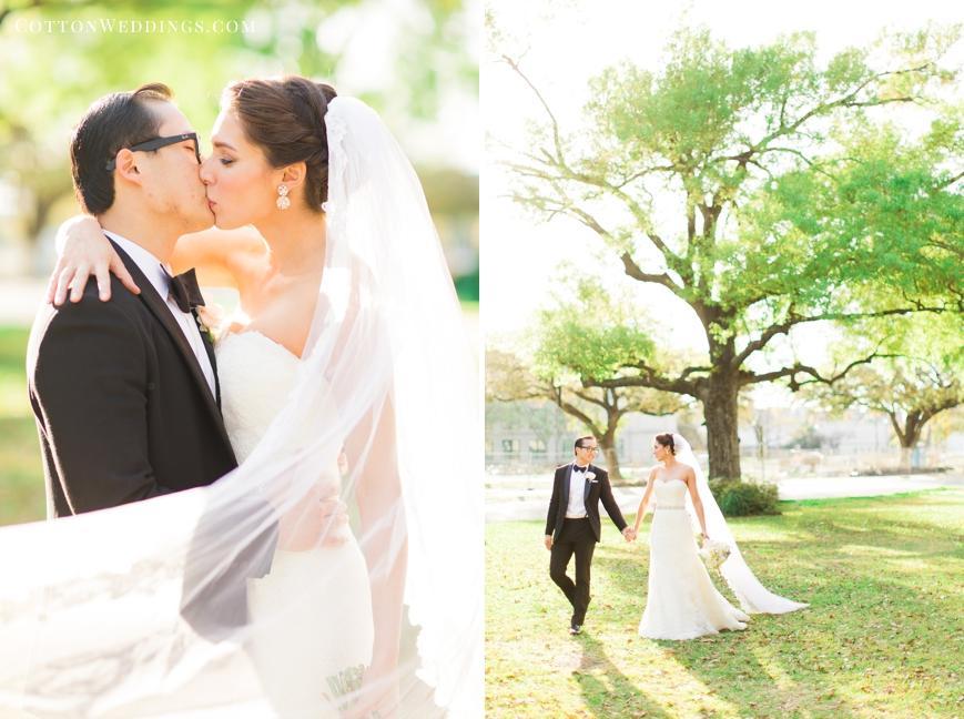 bride and groom walking sunny portrait