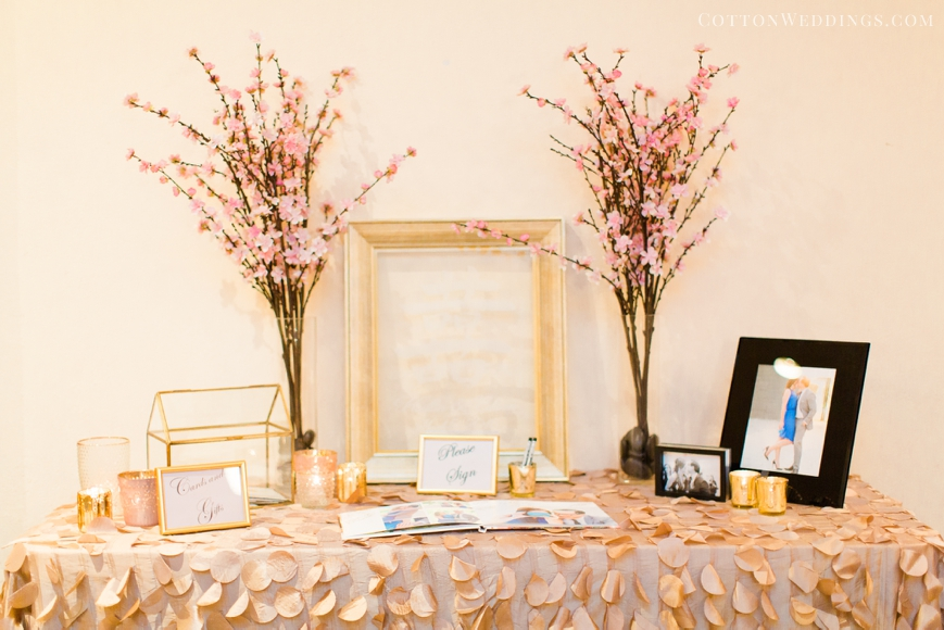 guest book table pale pink