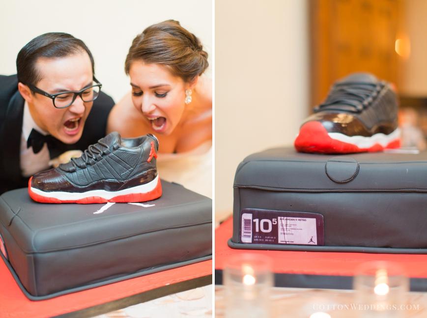 bride and groom silly eating air jordan cake