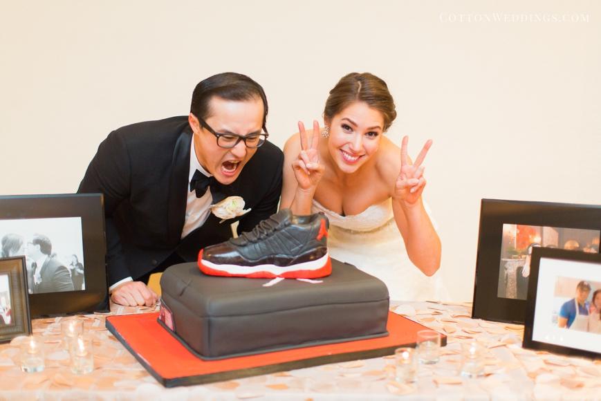 bride and groom with air jordan groom cake edible designs by jessie
