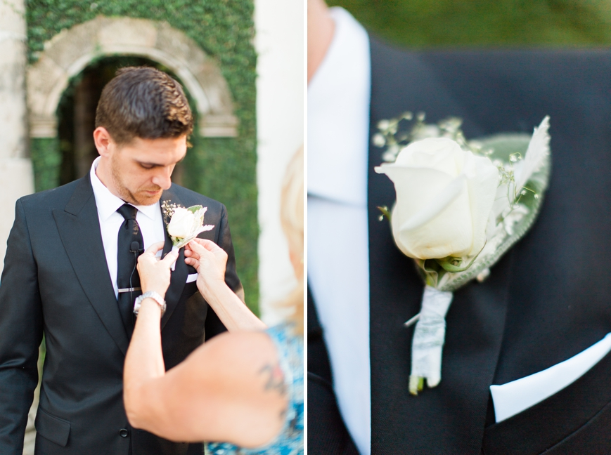 simple white rose baby's breath boutonniere