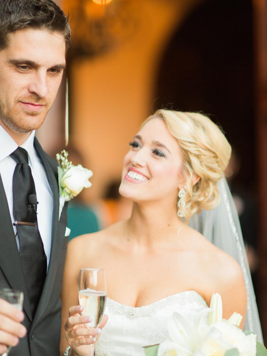bride gazing adoringly at husband