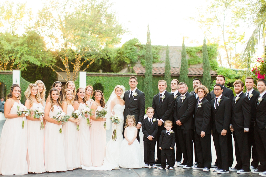 bridal party photo belltower on 34th