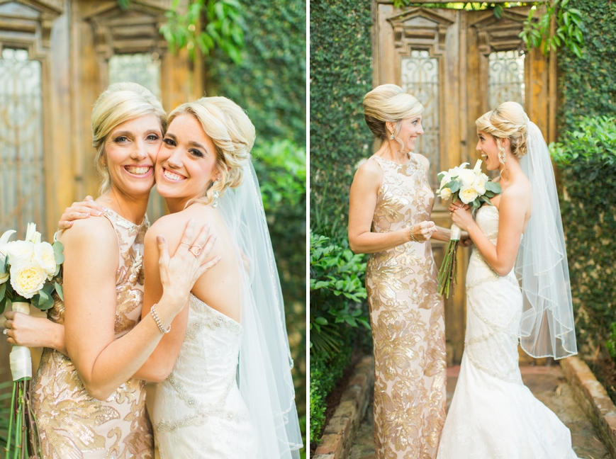 bride excited and hugging mom