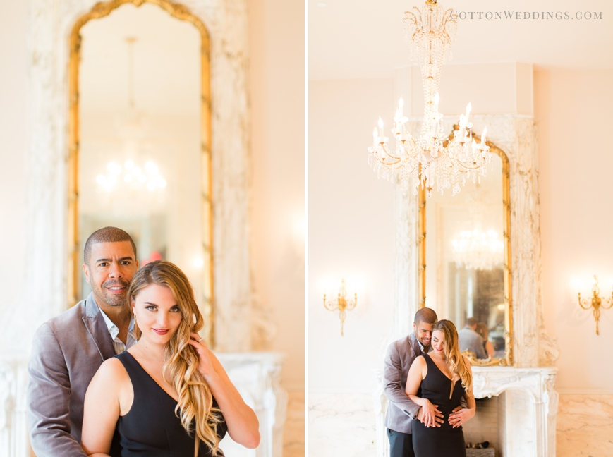 sweet engaged couple hugging chateau cocomar mirror room
