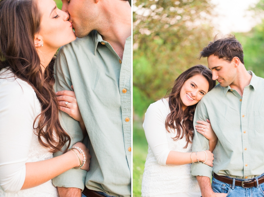 soft engagement portrait kissing