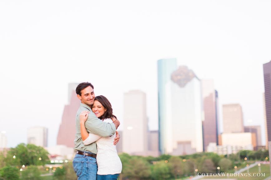 houston skyline engagement photo