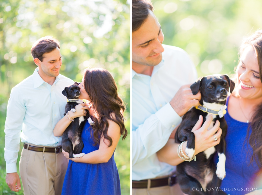 engagement photo with puppy